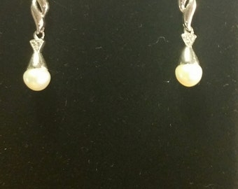 Sterling Silver Genuine Pearl Drop Earrings with Diamond Melee Accent