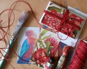 Waratah & King Parrot Christmas gift tags with eco hemp twine - original Australian artwork