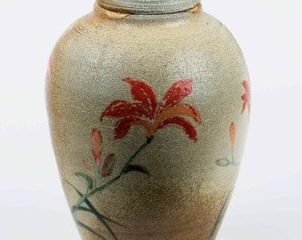 Medium Lily Urn - wood-fired, cremation, ashes