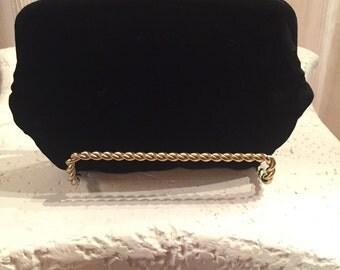 Vintage Black Velvet Evening Bag ~  Clutch ~ 1950's / 1960's