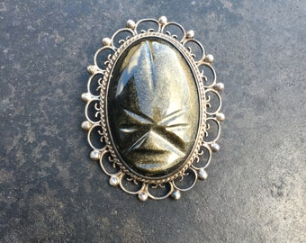Vintage Mexican Aztec face brooch and pendant of carved silver sheen obsidian and sterling silver