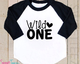 Wild One Shirt Heart Shirt black Raglan 3/4th Sleeve Shirt Toddler Youth Shirt