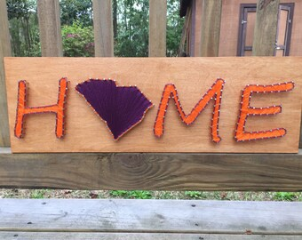 South Carolina Home String Art - Orange and Purple - Dorm Room Decor - Man Cave - Gift Under Sixty - Gift Under 60 - Ready to Ship