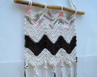 Crochet Wall Hanging, Handmade Cream Brown Fiber Wall Hanging, Cotton Yarn, Driftwood Wall hanging, Bedroom Decor, Nursery Decor, Great Gift