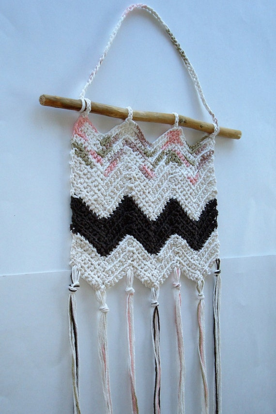 Crochet Wall Hanging, Handmade Cream Brown Fiber Wall Hanging, Cotton ...