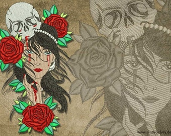Mystical Gypsy with roses and skull embroidery design