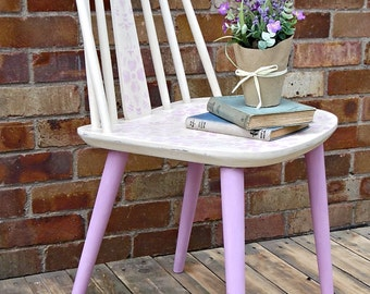 Upcycled vintage stickback style chair, painted furniture, stencilled, Annie Sloan, shabby chic