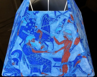 Ancient Greece blue leather lampshades