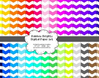 Chevron Digital Scrapbook Paper - RAINBOW BRIGHTS - 28 Graphics - 300dpi - 12x12 inches - PNG - Personal and Commercial - Instant Download