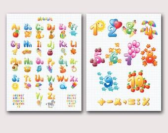 Illustrated Alphabet Wall Art, Alphabet Poster, Nursery ABC Poster, Alphabet and Numbers, Nursery Wall Art, Nursery Wall Decor, Set of 2