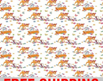 "Fleece Fabric Disney Bambi Anti Pill 60"" Wide Free Shipping Style EE 85040"