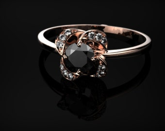 Solid Rose Gold Black Diamond Ring Rose Gold Engagement Ring Black Diamond Engagement Ring Genuine Black Diamond Ring Gemstone Ring