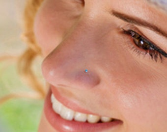 Teeny Tiny 1mm Aquamarine Sterling Silver Nose Stud, Nose Ring, Silver Nose Stud, Sterling Nose Stud, 1mm Nose Stud, Tiny Nose Stud
