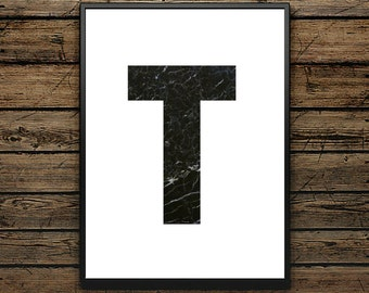 Premium Poster T Letter - Scandinavian Style - Wall decoration - Typographic Design - Black and White Poster - ideal for Gift