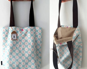 Tote bag, shoulder bag, vegan bag, Handbag, Beach Bag, summer bag, Everyday bag, canvas handbag, canvas tote, blue bag, floral handbag
