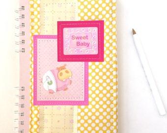Baby journal, fabric journal, soft cover journal, handmade notebook, baby diary