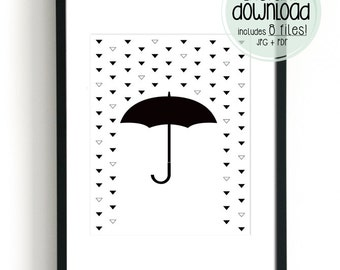 Umbrella Print, Rain Art, Modern Poster Prints, Downloadable Art, Minimalist Art, Kids Room Decor, Black and White Art, Nursery Wall Decor