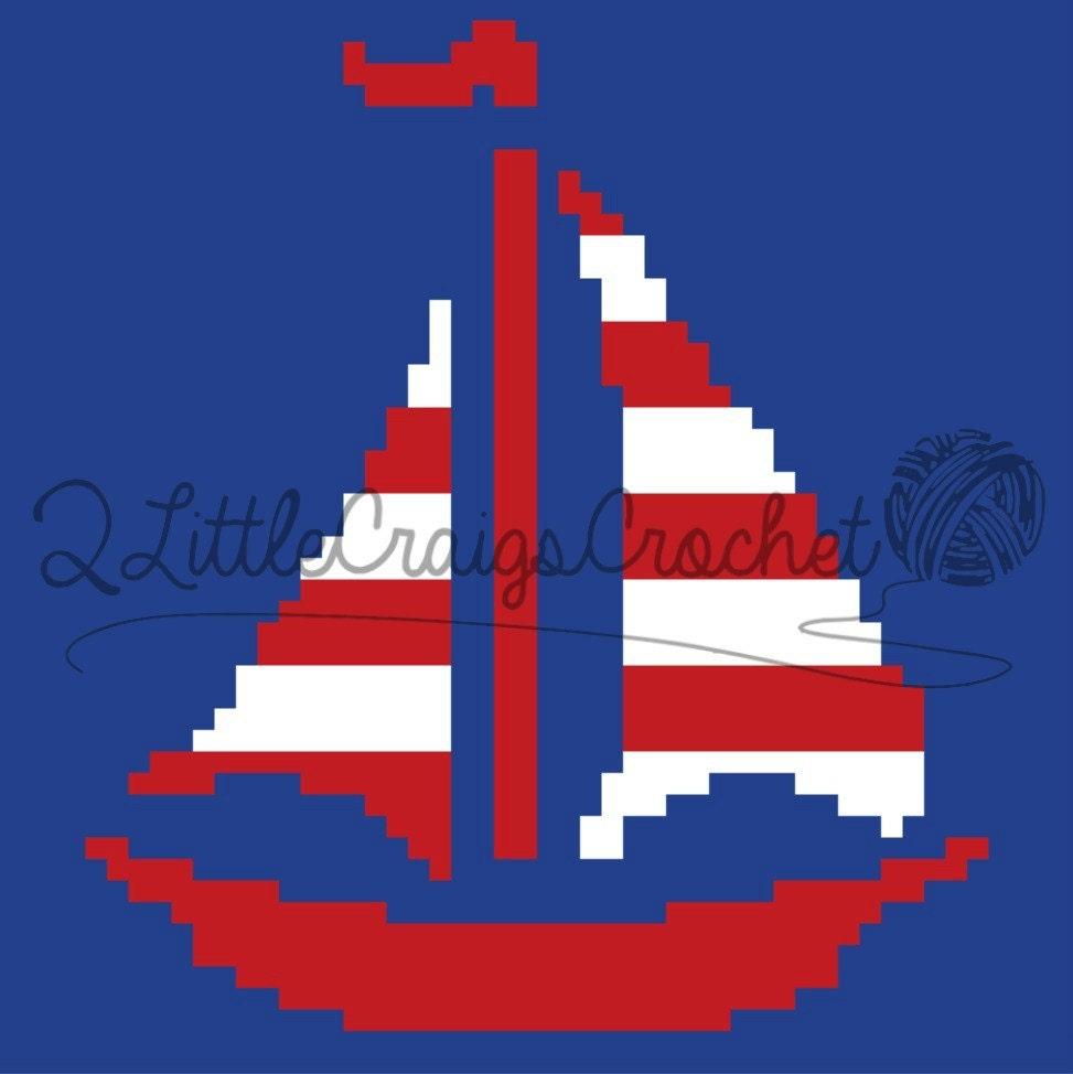 Instant Download Sailboat Nautical Sailing Crochet