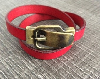 Leather strap, buckle belt