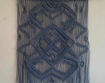 IN STOCK! Blue macrame wall hanging on a branch, large macrame wall hanging, macrame wall art, vintage art, modern macrame
