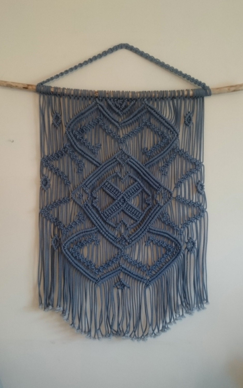 Blue Macrame Wall Hanging On A Tree Branch Large Macrame Wall