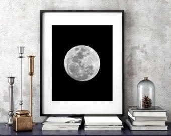 Full Moon Print Trendy Space Wall Art