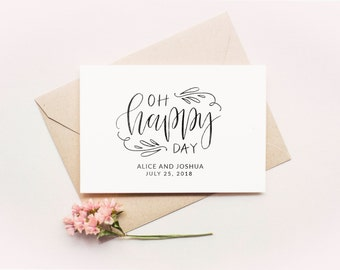 Oh Happy Day Stamp - Personalized Wedding Favor Stamp, Best Day Ever Stamp, Wedding Napkin Stamp, Wedding Favor Ideas (Style 39)