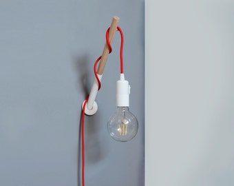 handmade wooden lamp hook with a colored fabric cable wall lamp wooden