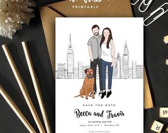 Custom Illustrated Couple Portrait Save the Date Card | Wedding Invitation Portrait | Couple Portrait | City skyline