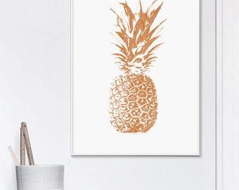 Copper Pineapple Print, Pineapple Print, Tropical Print, Copper, Printable Art, Copper And White, Scandinavian Style, Affiche Geometrique