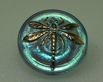 Czech Glass Button 18mm Dragonfly