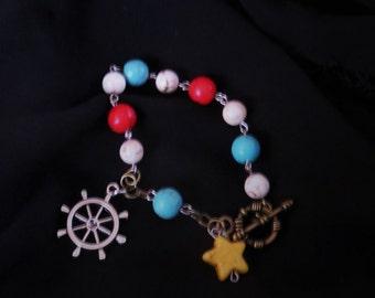 Nautical Beaded Toggle Charm Bracelet