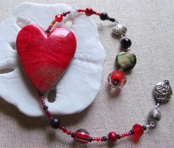 Red heart bookmark - rear view mirror - sweetheart - crimson  window  decor - memento - tote charm -  page marker - love - valentine gift