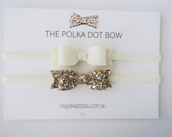 Gold & Ivory Mini Bow Headband, Gold Glitter Bow, Ivory Bow,Baby Headband, Gold Baby Headband, Christening Headbands, Baby Christening