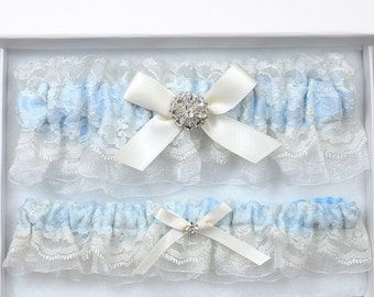 Wedding Garter Set, Bridal Garter, Ivory Garter, Ivory Wedding Garter, Blue Wedding Garter Set, Ivory Lace Garter, Blue Garter, Garter Set