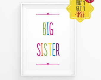 Big sister announcement, Girl nursery wall art, Wall art for girls room, Kids room poster, Typography art, Quote wall decor, baby quotes