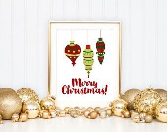Merry Christmas Printable Art Print, Green & Red Ornaments, Holiday Home Decor Wall Art, Christmas Art Print, Christmas Decoration, 8x10