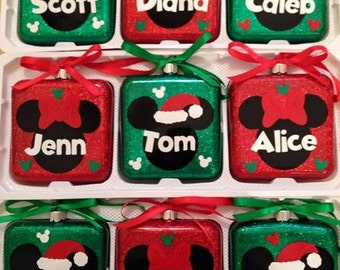 Personalized Mickey and Minnie Christmas Ornaments