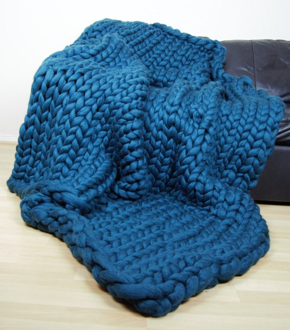Giant Knit Blanket Pattern : Chunky Blanket. Giant Knit Throw. Knitted Pure Wool by Jumboknit