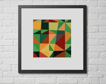 "Modern Wall Art, Mid Century Art, Abstract Print, Geometric Art, Wall Decor, Colorful Triangles, Vintage Art, Colorful Art, ""Angle Works A"""