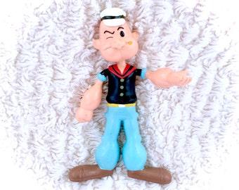 "RARE Vintage 1993 Popeye Sailorman Sailor Man PVC Rubber Action Figure 7"" Bendy Bendable Saturday Morning Cartoons Classic Poseable"