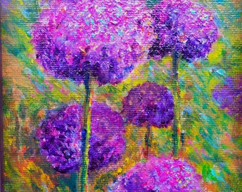 Aliums Standing Tall. 5x7 original acrylic painting on board.