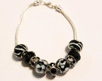 Black Lotus, Pandora Style Bracelet