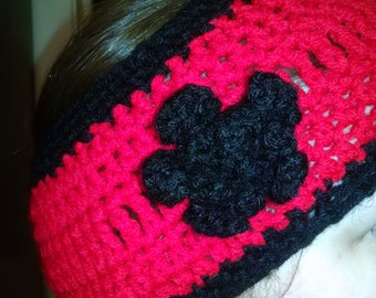 Red and Black Winter Headband With Flower