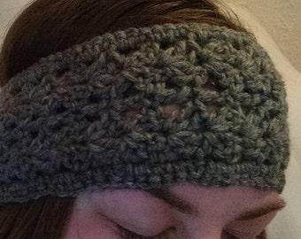 Grey Shell Winter Crochet Headband