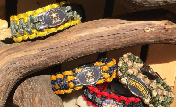 Military Paracord Bracelet, US Military All Branches available, Your choice of shoelace charms, compass and whistle buckle