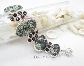 Zebra Jasper and Garnet Sterling Silver Bracelet