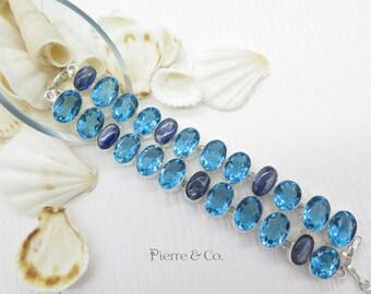 Swiss Blue Topaz and Kyanite Sterling Silver Bracelet