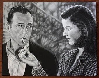 CUSTOM PAINTINGS Realistic Black and White Acrylic Commission Portraits Painting on Canvas Personalized Gift Submit photo Medium Size