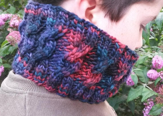 Knitting Pattern: Chunky Aran Cable Cowl downloadable PDF. Quick to knit; suitable for cable learner. For chunky yarn. Various sizing option